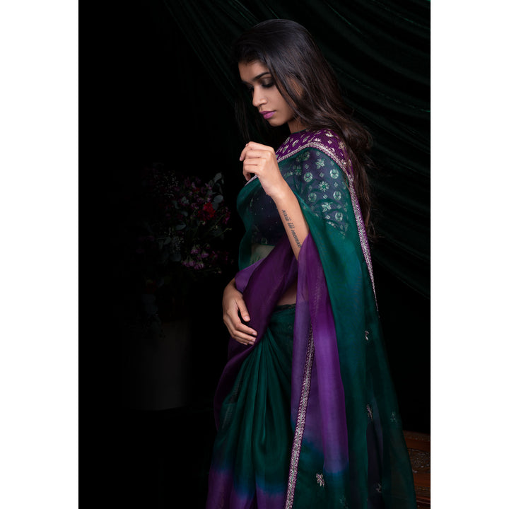 'Ombre Sky' silk organza sari with plain silk blouse