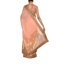 'Peach Blossoms' embroidered linen Sari with blouse piece