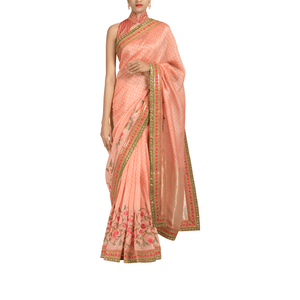 'Peach Blossoms' embroidered linen Sari with plain unstitched blouse piece