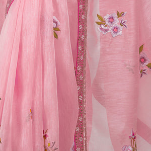 'Pink Pearl Cup' embroidered linen Sari with blouse piece