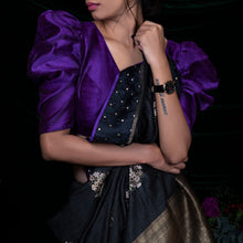 'Purple Blooms' Raw silk handloom blouse by Urvii Mantreh