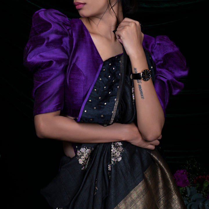 'Purple Blooms' Raw silk handloom blouse only