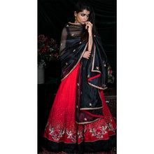 'Red Moon Nightingale' hand embroidered lehenga set