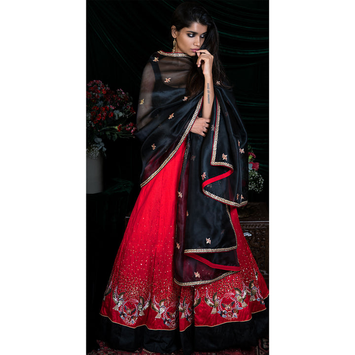 'Red Moon Nightingale' hand embroidered lehenga with raw silk blouse