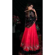 'Red Moon Nightingale' hand embroidered lehenga set by Urvii Mantreh