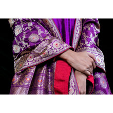 'Royal Purple' Hand Embroidered, Handloom Silk Kurta and Silk Pants