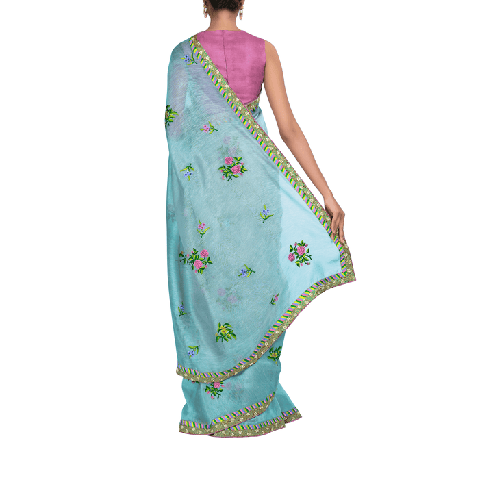 'Shangri-la' embroidered silk-linen Sari with blouse piece