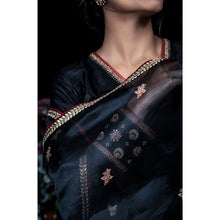 'Song of the cuckoo bird' Black Handloom Silk Kurti, Black Churidar and Black silk organza dupatta set