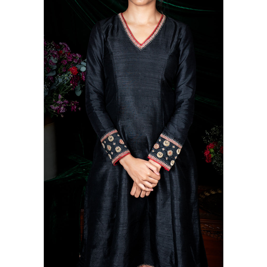 'Cuckoo' Black handloom raw silk kurti and churidar set