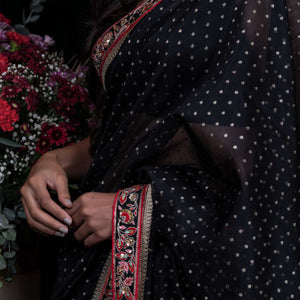 'Starry Night' silk-cotton Banarasi sari