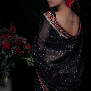 'Midnight flowers' silk-cotton Banarasi sari with silk unstitched blouse piece