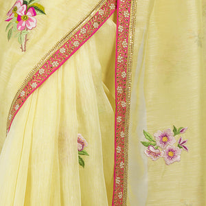 'The Tea House Garden' embroidered linen Sari with blouse piece