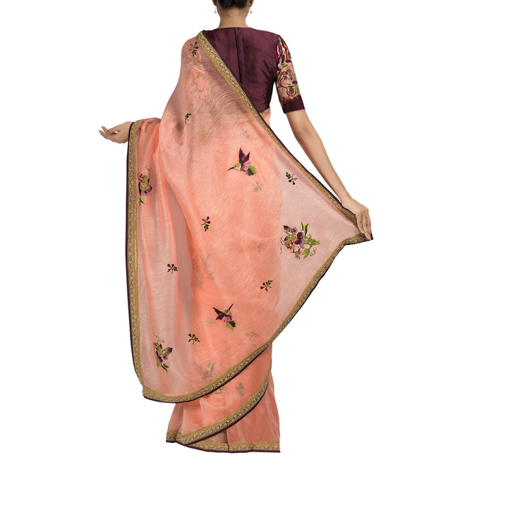 'The flowering plum and kingfisher' embroidered linen Sari with blouse piece