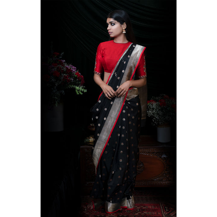 'The Night Sky Garden' Hand-embroidered Banarasi handloom Sari with plain black silk blouse