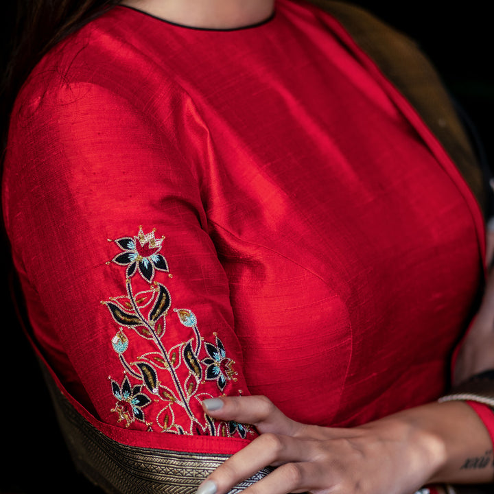 'Tulip Flame' Hand-embroidered silk blouse only