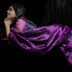 'Unseen' silk organza sari with plain unstitched silk blouse