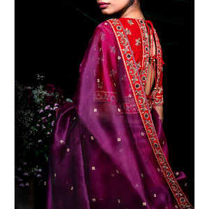 Urvii Mantreh by Shimai Jayachandra - 'Twilight Lily' Sequined silk lehenga set with zardozdi embroidery blouse and dupatta