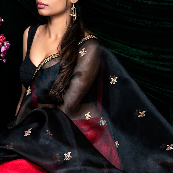'Falling Leaves' hand embroidered silk organza dupatta only