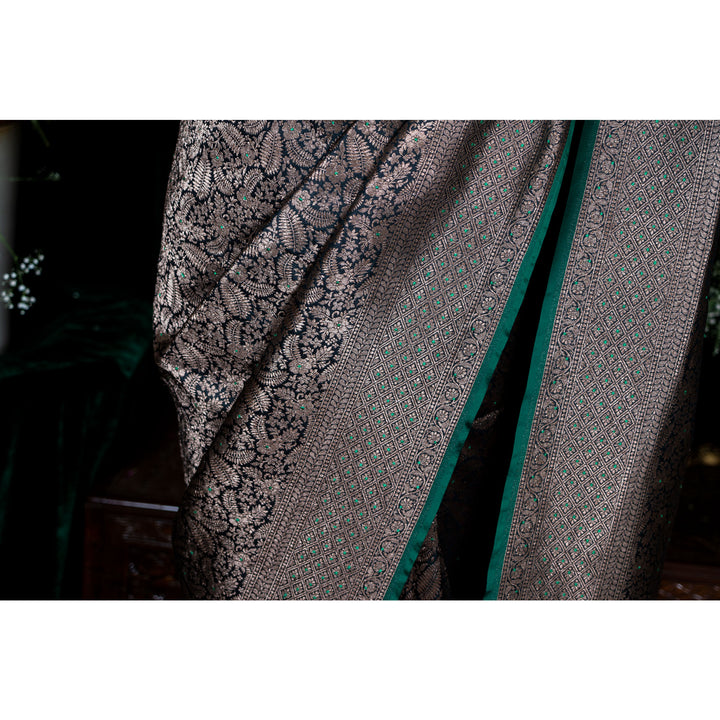 'Dancing Leaves' hand-embroidered Banarasi handloom sari with plain contrast blouse piece