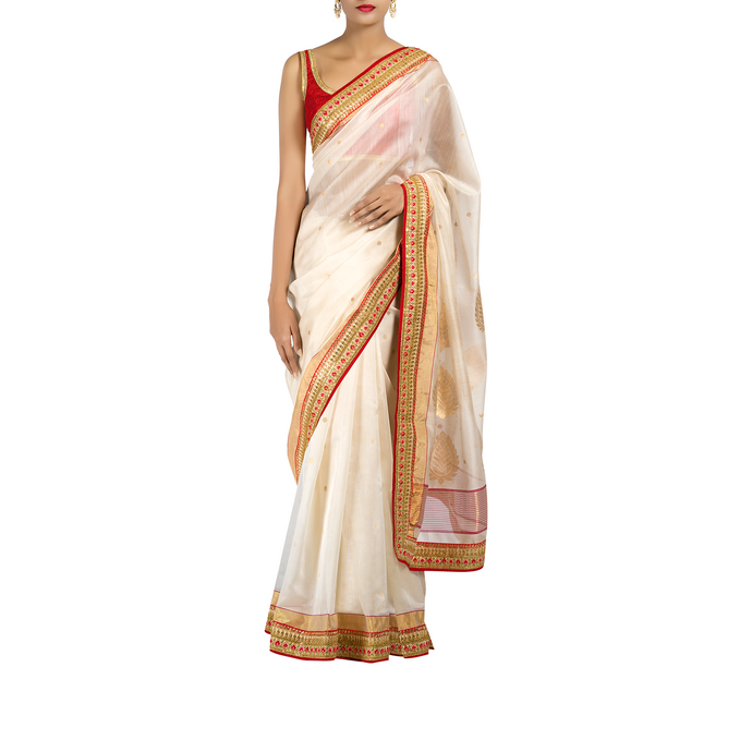 Water Moon Chanderi Sari with  Silk-Cotton Blouse Piece