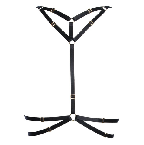"Black ""Emma"" Harness With Gold Sliders"