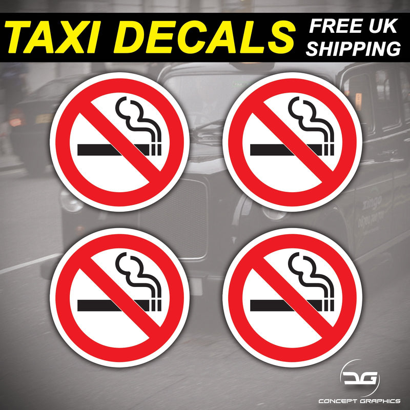 4x No Smoking Warning Taxi, Public Transport, Shop Vinyl Decal Stickers