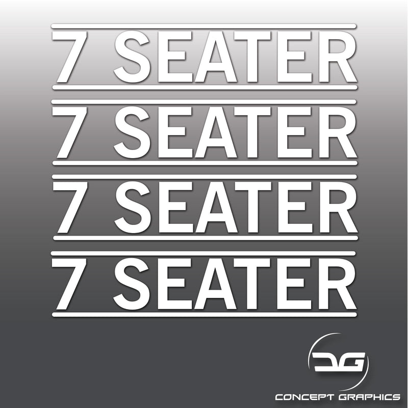 4x 7 Seater Mini Cab, Taxi, Private Car Hire Window Bumper Vinyl Decal Stickers