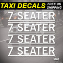 4x 7 Seater Mini Cab, Taxi, Private Car Hire Vinyl Decal Stickers