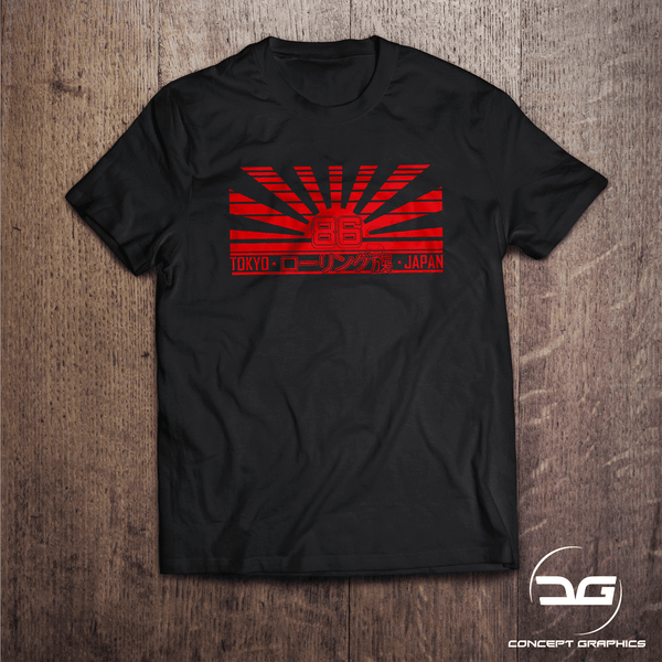 86 Drifters Japanese Rising Sun JDM Drift Car T-Shirt