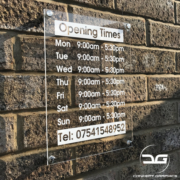 Personalised Wall Mounted Acrylic Perspex Opening Hours Time Sign