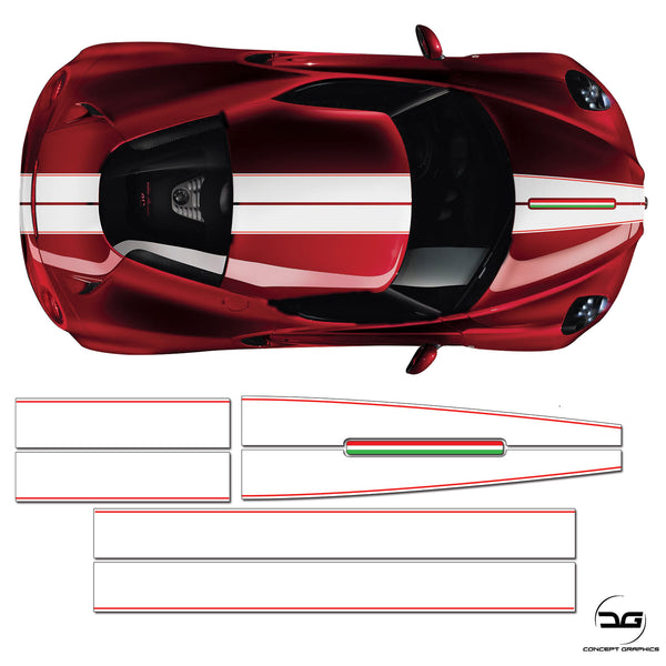 Alfa Romeo 4C Full Racing Stripe White Italian Vinyl Decal Sicker Graphic Kit