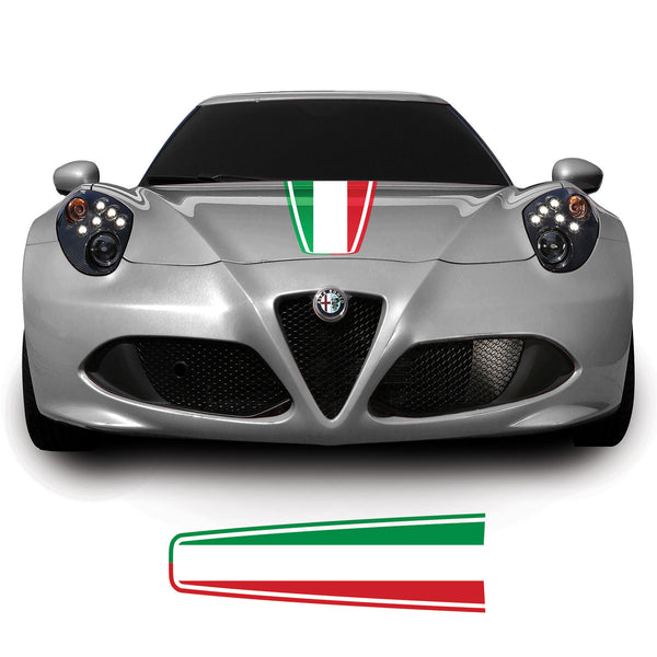 Alfa Romao 4C 2013 Onwards Italian Flag Bonnet Racing Stripe Vinyl Decal Sticker Graphic
