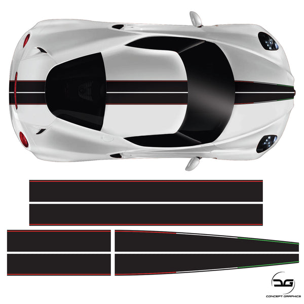 Alfa Romeo 4C Full Racing Stripe Black Italian Vinyl Decal Sicker Graphic Kit