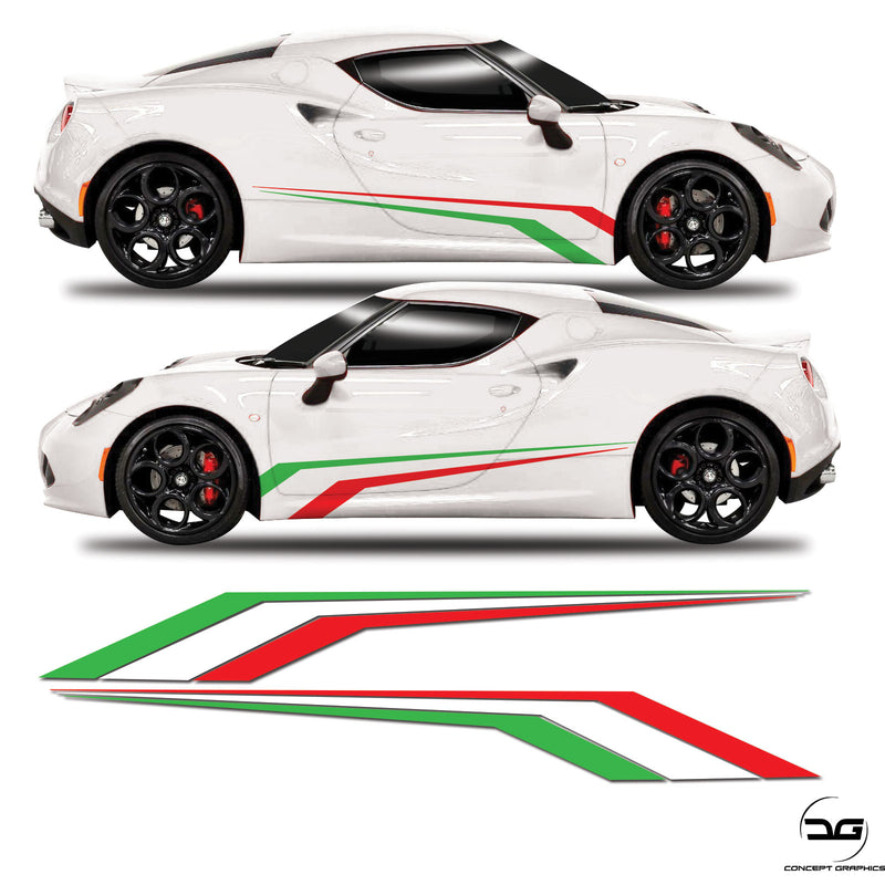 Alfa Romeo 4C Italian Flag Racing Side Stripe Vinyl Sticker Graphics Kit