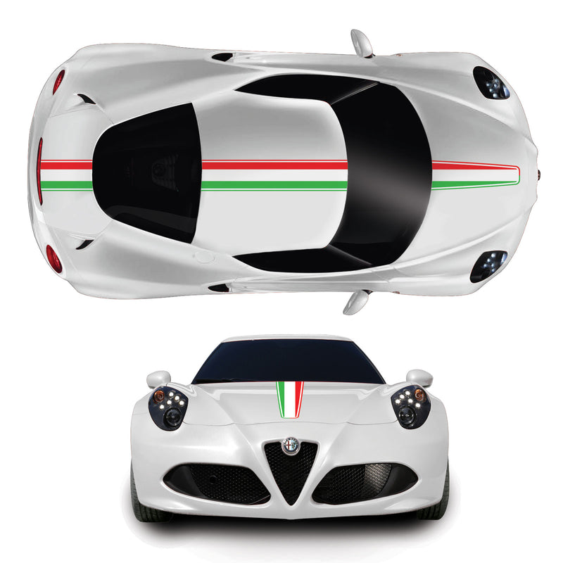 Alfa Romeo 4C Italian Flag Full Racing Stripe Vinyl Decal Sicker Graphic Kit