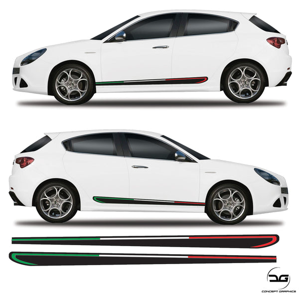 Alfa Romeo Giulietta Italian Flag Side Stripes Racing Graphics