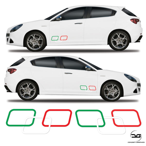 Alfa Romeo Giulietta Italian Flag Squares Side Vinyl Sticker Graphics