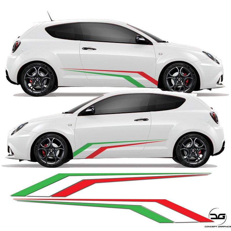 Alfa Romeo Mito Italian Flag Racing Side Stripe Vinyl Sticker Graphics Kit