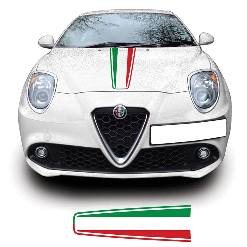 Alfa Romao Mito 2008 Onwards Italian Flag Bonnet Racing Stripe Vinyl Decal Sticker Graphic