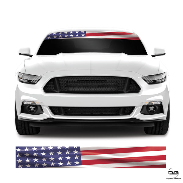 American Flag USA Universal Car Windscreen Sunstrip Vinyl Decal Sticker Banner