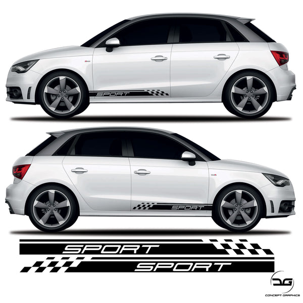 Audi A1 S1 Sport Lower Half Side Stripes Decals