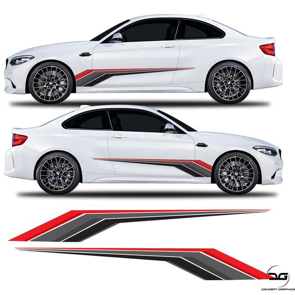 Racing Side Stripes Vinyl Decal Sticker Graphics For BMW 2 Series