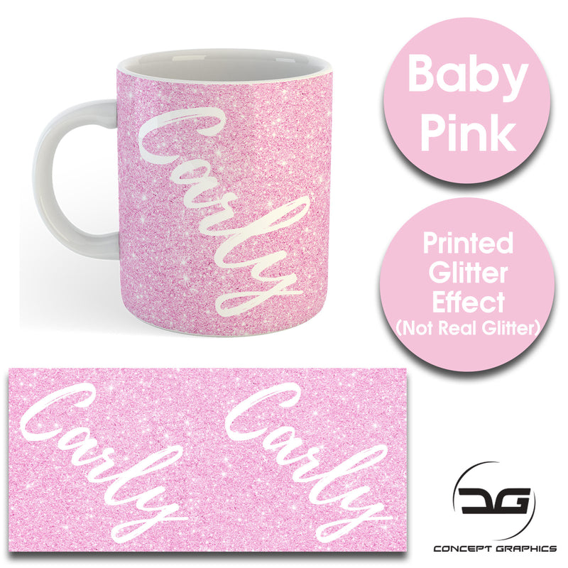 Custom Personalised Name Printed Baby Pink Glitter Effect Coffee Mug Cup