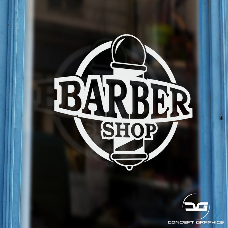 Barber Shop Pole Personalised Vinyl Decal Sticker Window Example