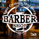 Barber Shop Pole Personalised Vinyl Decal Sticker Window Wall Door Sign With Custom Text