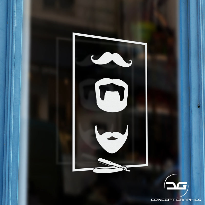 Beards Barber Shop Window Door Vinyl Decal Sticker Sign