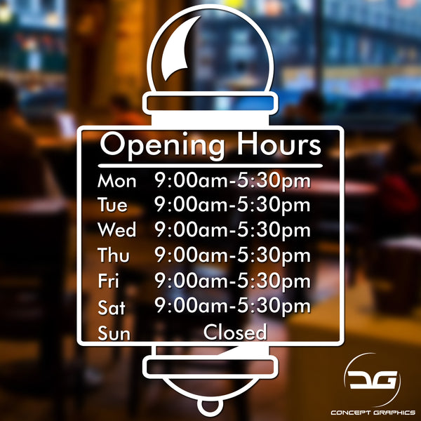 Barber Shop Pole Opening Times Hours Vinyl Sign Sticker