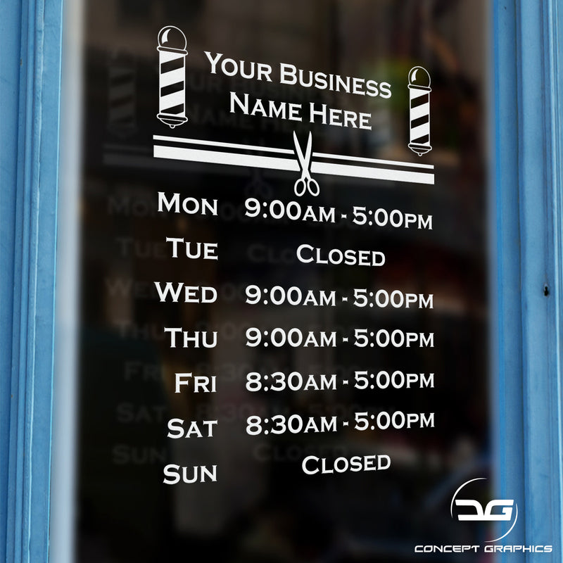 Barber Shop Pole Opening Times Hours Window Wall Door Sign Decal Sticker