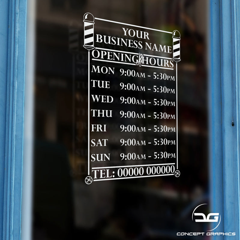 Barbershop Salon Personalised Opening Hours Times Vinyl Decal Window Door Sign