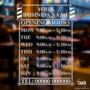 Barbershop Salon Personalised Opening Hours Times Vinyl Sign
